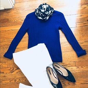 Talbots Cable Knit Electric Blue Sweater Fitted